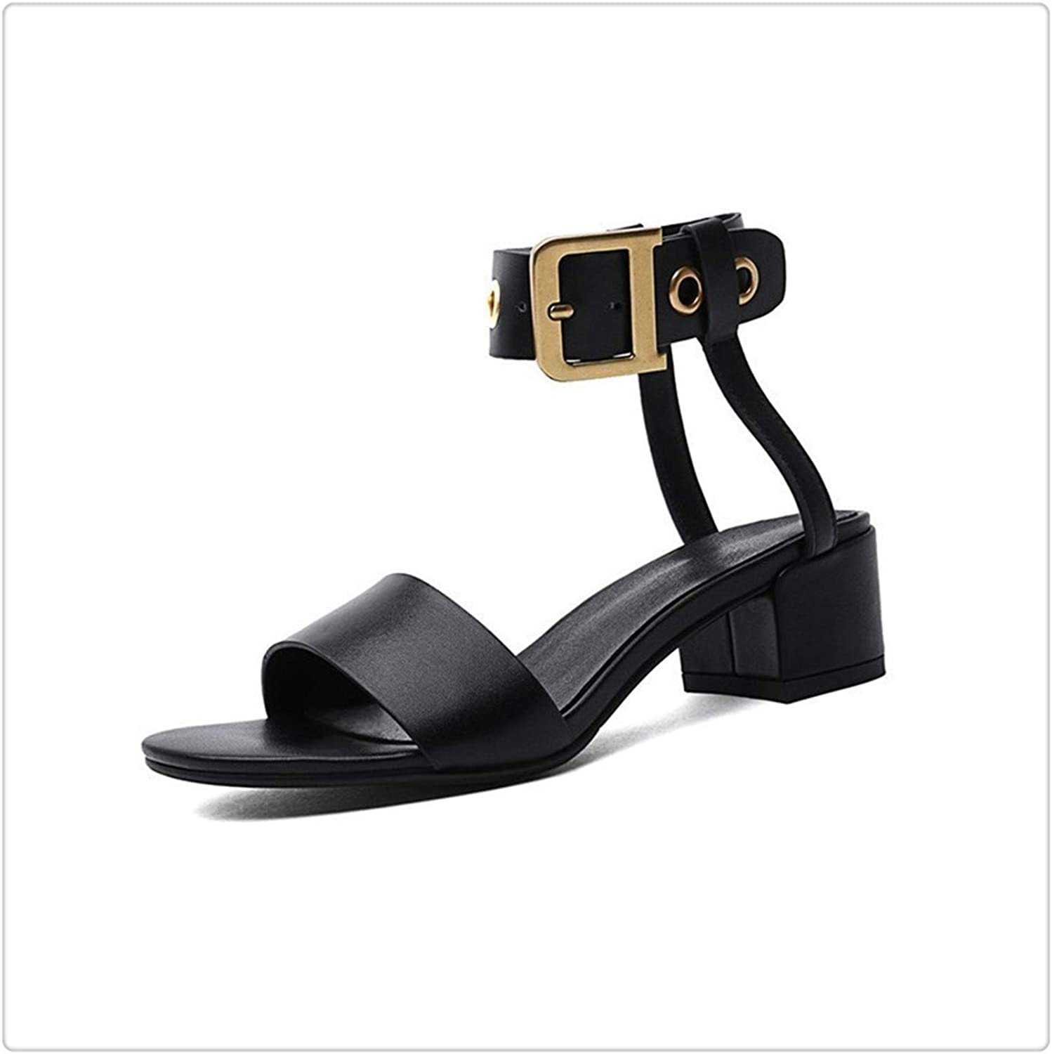 BIONGTY& 2019 New Spring Summer Round Toe Pu Leather Belt Buckle Strap Casual SimpleHigh Heels Sandals Women Fashion Tide 10SJ716 Black 37