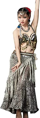 Z&X Belly Dance Perforhommece Vêtements, Tribal Vent Costume Soutien-Gorge Frange De Taille Serviette Ensemble