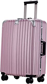 WHPSTZ Trolley Student Trolley Reinforcement Aluminum Frame Universal Wheel Travel Business Boarding Case Lock Box Trolley case (Color : Pink, Size : 22 inches)