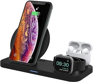 Wonsidary 3 en 1 Cargador Inalámbrico para Apple Watch 5/4/3/2 & Airpods Pro/2/1, Soporte Cargador Rápida Qi Estación de Carga para iPhone 11/11 Pro/11 Pro Max/XR/XS/Xs Max/X/8 Plus/8, Plegable