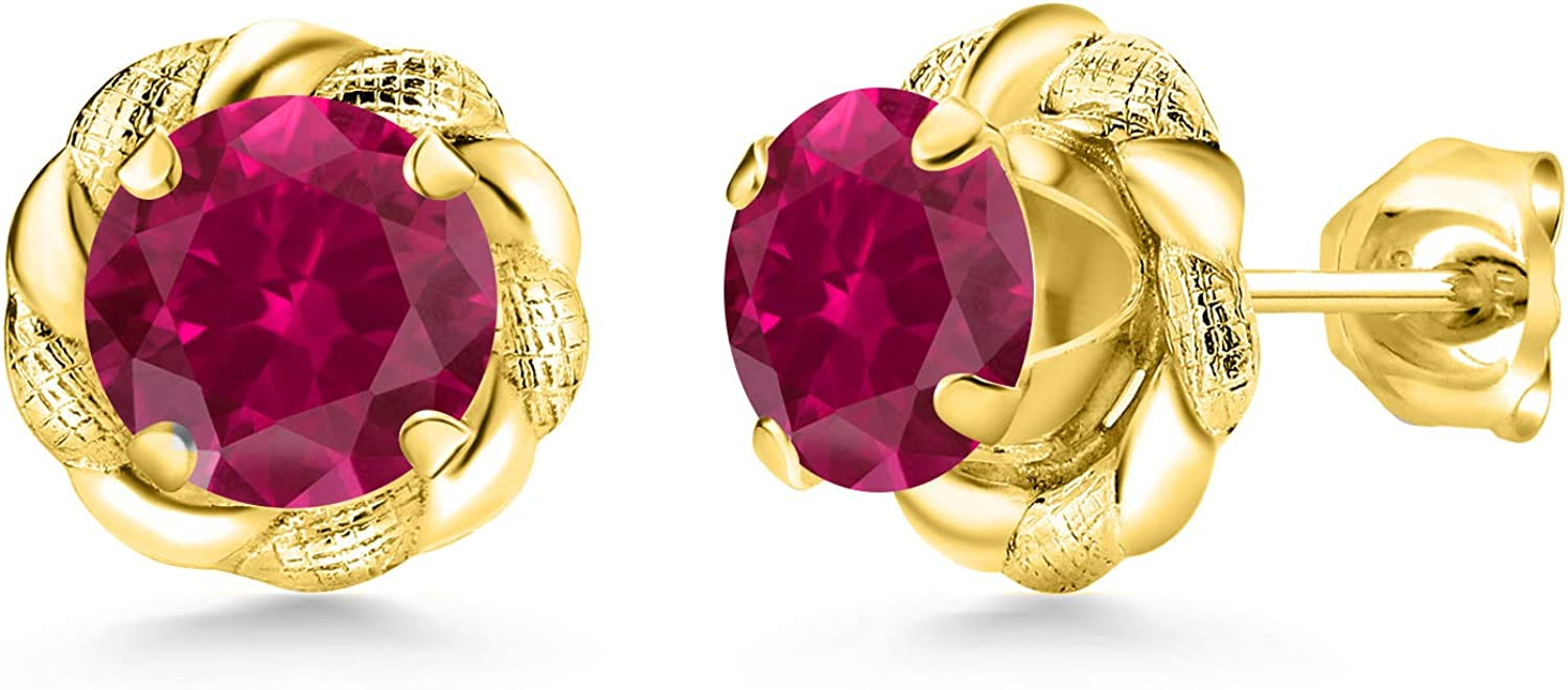 Gem Stone King Cheap bargain 2.00 Ct Round Dealing full price reduction 6mm Ruby 18K Gol Yellow Red Created