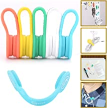 SUNFICON Cable Organizers Magnetic Clips Earbuds Cords Winder Bookmark Clips Whiteboard Noticeboard Fridge Magnets USB Cable Manager Ties Straps for Home,Office,School 5 Pack Assorted Light Colors