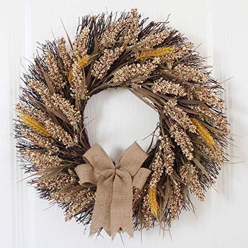 NBCDY Fall-Kranz, elegant Inneneinrichtung klarer künstlicher Autumn Wreath mit gelben Blättern, für Haustür-Innenwand-Hochzeits-Fenster-Kamin-Büro und Speicher