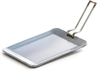 遊火パン(極厚t4.5mmB6サイズ鉄板190×140mm)   ハンドル・革グリップ・ギョーザ蓋などOP選んで、至極のフィールド鉄板焼きを!