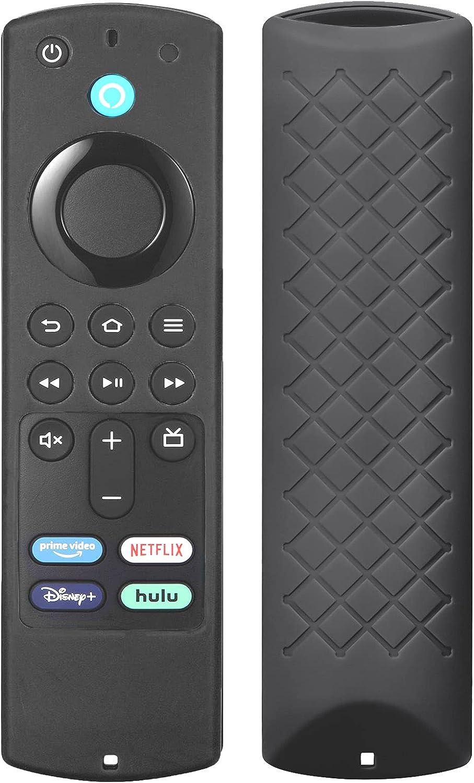 Protective Cover for All-New Alexa Voice Remote (2018-2021) for Fir TV Stick (3rd Gen) 2021 / Fir TV Stick 4K / Fir TV Stick Lite 2020 / Fir TV Cube/Fir TV (3rd Gen) Silicone Remote Case - Black