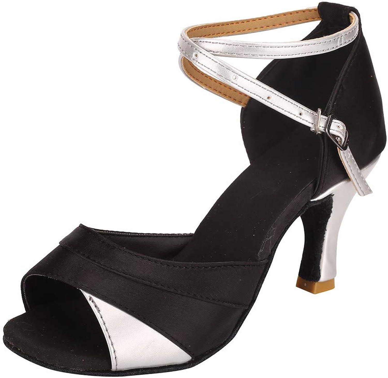 Fheaven 2019 Womens Sandals Dress shoes Dancing Rumba Waltz Ballroom Latin Dance Peep Toe Sandals shoes (8, Silver)