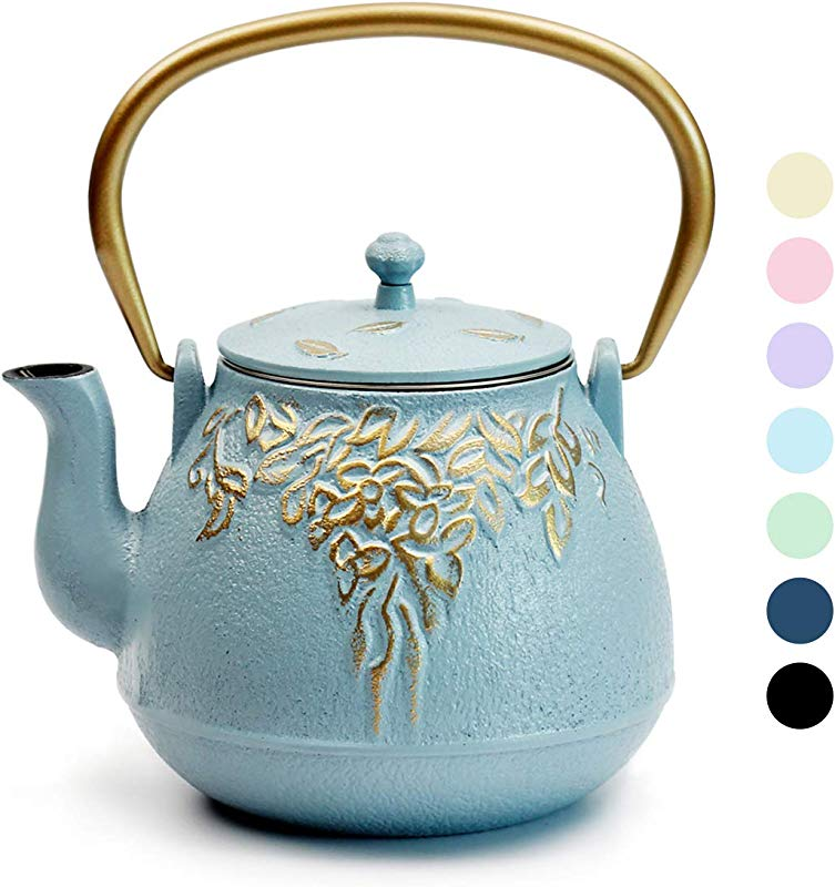 Teapot TOPTIER Japanese Cast Iron Tea Kettle With Stainless Steel Infuser Cast Iron Teapot Stovetop Safe Leaf Design Teapot Coated With Enameled Interior For 32 Ounce 950 Ml Turquoise Blue