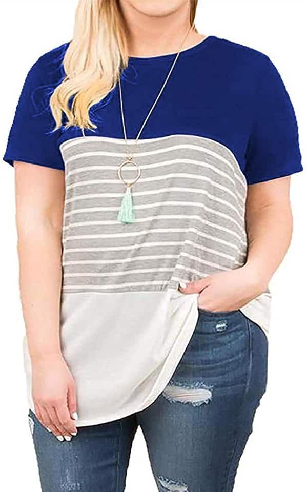 Kancystore Women's Plus Size Short Sleeve Shirts Summer Casual Striped T-Shirt Tunic Tops XL-5X