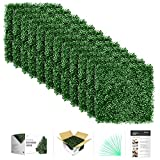 flybold Artificial Boxwood Panels Topiary Hedge Plant UV Protected Privacy Screen Outdoor Indoor Use Garden Fence Backyard Home Decor Greenery Walls Pack of 12 Pieces 20' x 20' inch Dark Green