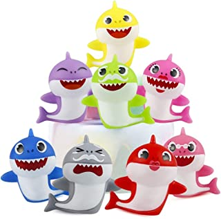 SAKOLLA 8 Pack Shark Birthday Cake Toppers - Little Shark Cake Decorations for Kids Shark Theme Birthday Party Baby Shower