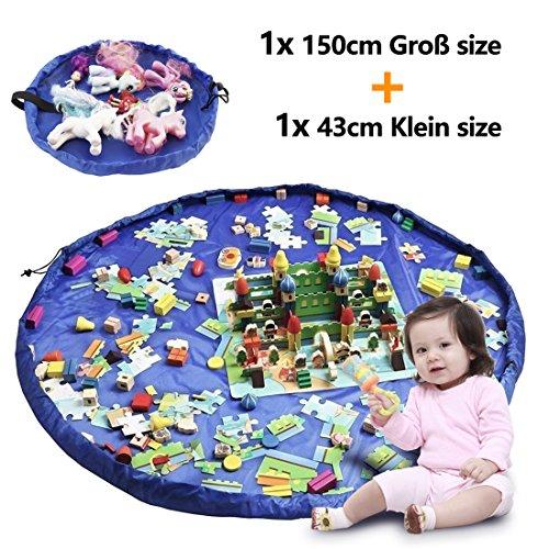 2er Set Kinder Aufräumsack, XXL Baby Spieldecke Spielsack Spielzeugteppich Spielzeug Beutel, Spielmatte Speicher Tasche Aufbewahrung Beutel Spielzeugsack für Kinderzimmer Outdoor Picknick Teppich