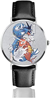 SDFGBA Unisex Business Casual Monster of The Pocket Koi Magikarp and Gyarados Watches Quartz Leather Watch with Black Leather Band for Men Women Young Collection Gift