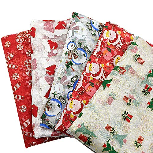 David accessories Merry Christmas Glitter Organza Fabric Tulle Fabric 5 Design/Set for Festival Party Decor DIY Crafts by Half Yard (Assorted)