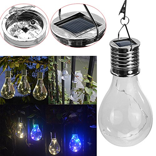 CBY Solar Lamp, Waterproof Decor Multicolor Rotatable Outdoor Garden Camping Hanging LED Light Lamp Bulb for Christmas Holiday Party Garden Backyard Decoration (2PCS)