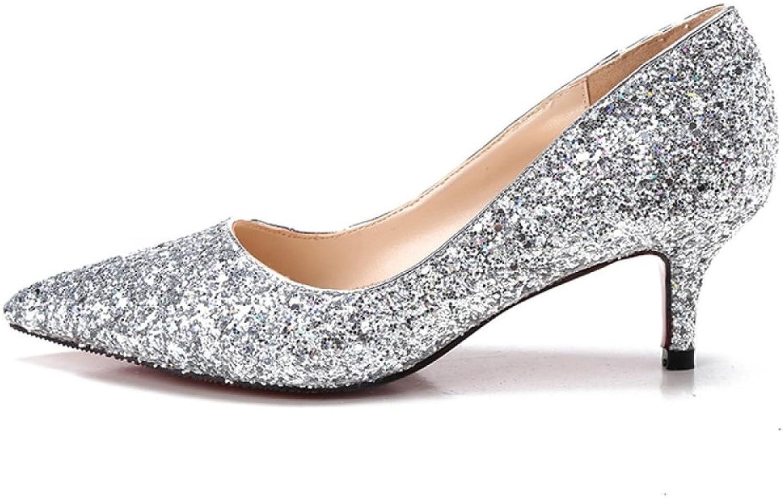 MUYII Frauen Cinderella Kristall High Heels Braut Hochzeit Schuhe Feine Stiletto Glitter Sandalen,Silber-5.5CM-33