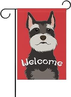 My Daily Welcome Schnauzer Dog Decorative Double Sided Garden Flag 12 x 18 inch