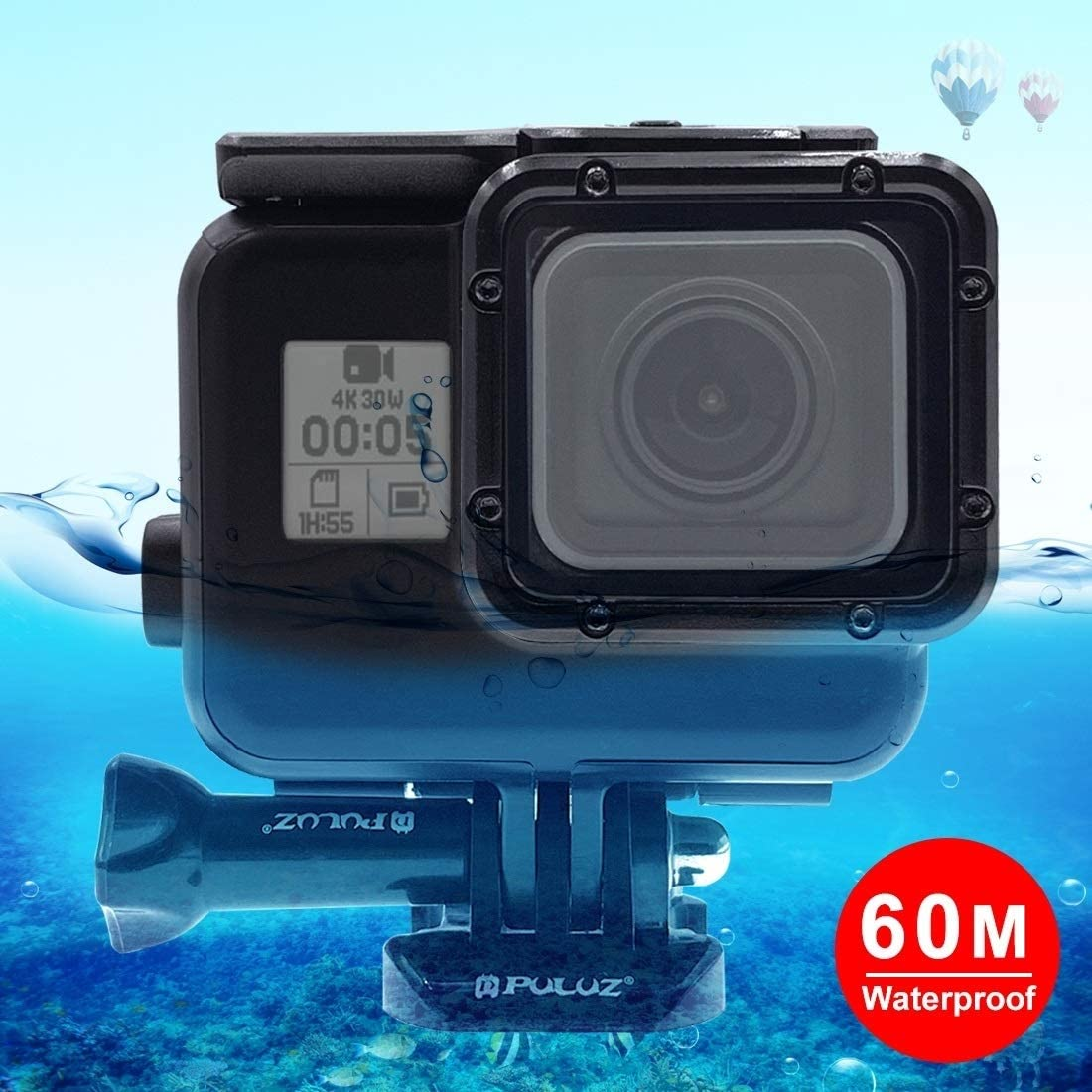 No Need to Remove Lens Hsifeng with Buckle Basic Mount /& Screw Hesifeng Hsifeng 60m Waterproof Housing Protective Case for for GoPro Hero // HERO7 Black //6//5 2018 Color : Color2