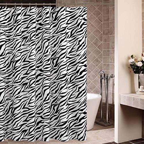 GSLG Duschvorhang Zebra Polyester Tuch Wasserdicht Mehltau Verdickung Vorhang Brauch,Zebramuster,A