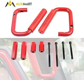 AUXMART Front Grab Handles Grab Bars for Jeep Wrangler 2007-2017 2/4 Door Solid Steel Red