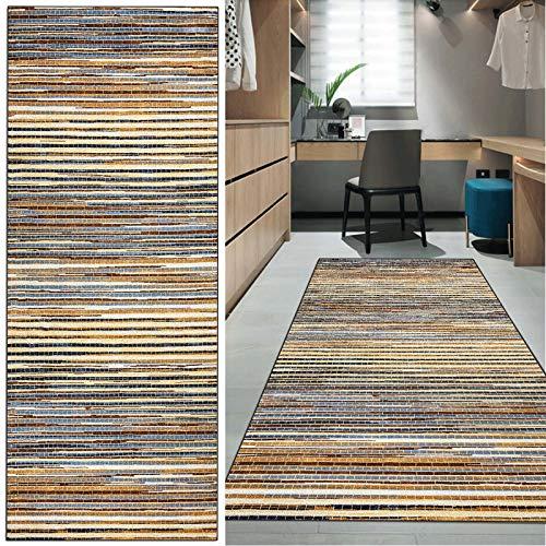FKYUH Teppich Läufer Flur rutschfest Moderner Abstrakter bunter Stil Küche Schlafzimmer Wohnzimmer Polyester Verblassen Anpassbare Größe (Color : A, Size : 60x350cm)