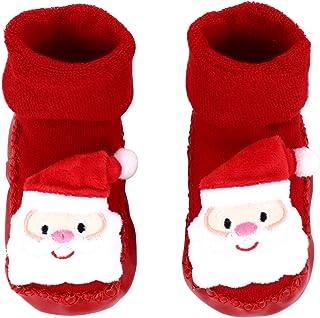 ABOOFAN, ABOOFAN Calcetines Navideños para Bebés Calcetines Antideslizantes para El Piso Calcetines con Escalones Calcetines Cálidos Cálidos Y Esponjosos de Invierno para Niños Pequeños Vacaciones
