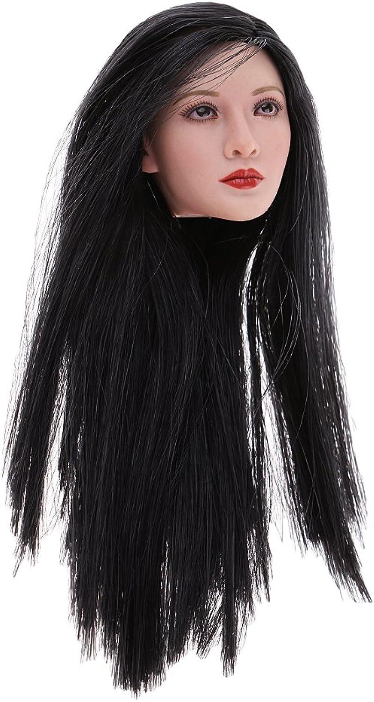 Baoblaze 1 6 Asian Beauty Head Sculpture Model Long Hair for 12'' Hot Stuff Phicen Kumik Figure
