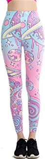 unbrand Harajuku Cartoon Print Leggings Kawaii High Waist Pencil Pants Slim Stretch Light Colors Leggins Casual Trousers
