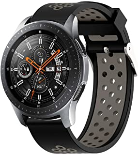 YHX-ME Silicone Strap Watch Band Fit Compatible with gear S3 watch 46mm Strap Width 22mm Quick-Release(Black-grey)