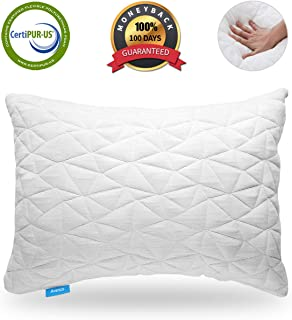 Avenco King Size Shredded Memory Foam Pillow Cooling Pillows for sleeping Adjustable Comfortable Back Side Sleeper Pillow with Breathable Cover White 1 Pack