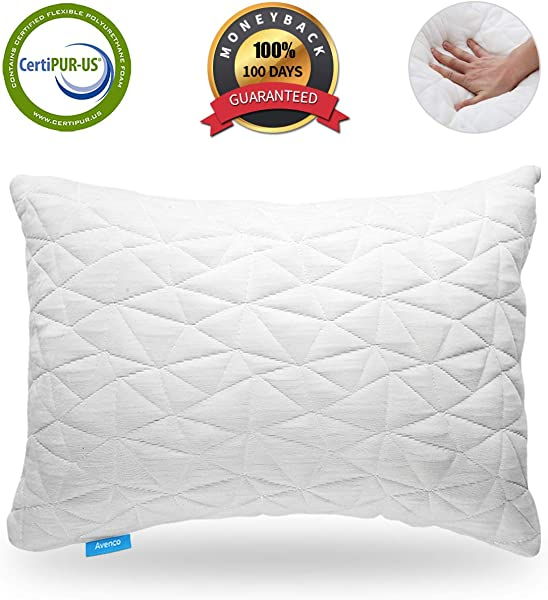 Avenco King Size Pillows For Sleeping Adjustable Shredded Memory Foam Pillow Bed Pillows For Back Side Sleeper Cooling King Pillows With Breathable Cover White 1 Pack