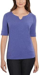 Ellen Tracy Women's Pima Cotton/Lycra V-Neck Cuff Sleeves T-Shirt