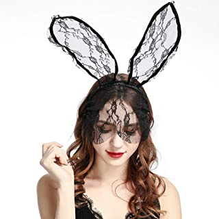 Jesse Halloween Party Womens Long Bunny Ears Headband with Floral Lace Veil for Girls Daily Wearing and Banquet Prom Decoration Hair Hoop