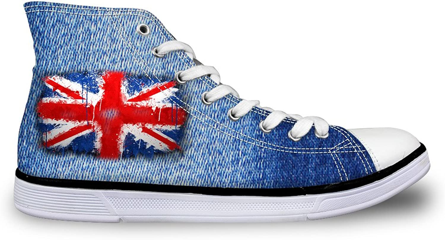 Chaqlin Fashion Denim Unisex Canvas shoes High Top US UK Flag Pattern Non-Slip Sneaker for Women Men