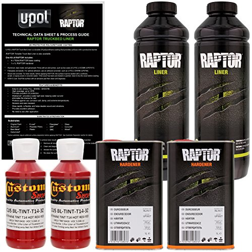 U-POL Raptor Hot Rod Red Urethane Spray-On Truck Bed Liner & Texture Coating, 2 Liters