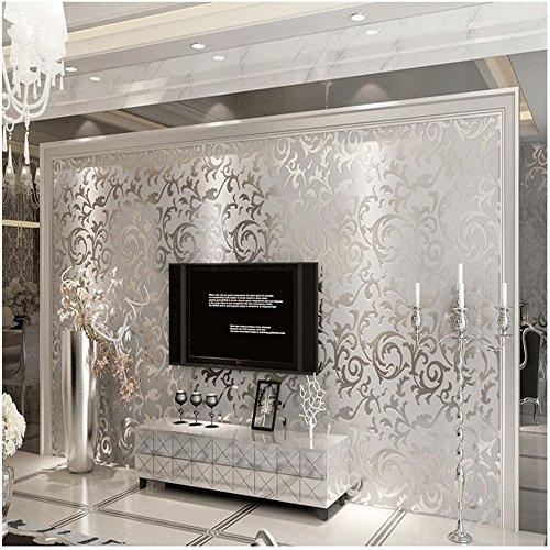 QH - Carta da parati in materiale non tessuto, dalle finiture goffrate damascate, 0,53 x 10 m, 17,5 mq, colore grigio argento