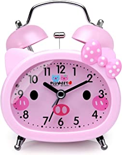 Plumeet Twin Bell Alarm Clock for Kids, Silent Non-Ticking Cartoon Quartz Loud Alarm Clock for Girls, Cute, Handheld Sized, Backlight, Battery Operated (Pink)