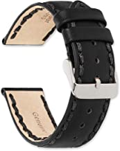 deBeer Hand Stitched Genuine Oil Leather Replacement Watch Band - Black or Brown Color - Sizes: 18mm 20mm or 22mm