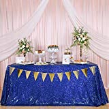KNGKILQN RoyalBlueSequin Tablecloth - 55x80inch BlueTablecloth Glitter Sequin Table Cloth Rectangular for Birthday Wedding Halloween
