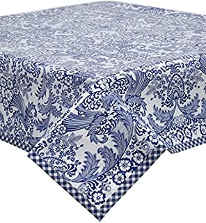 Freckled Sage Toile Blue Oilcloth Tablecloth with Navy Gingham Trim You Pick The Size