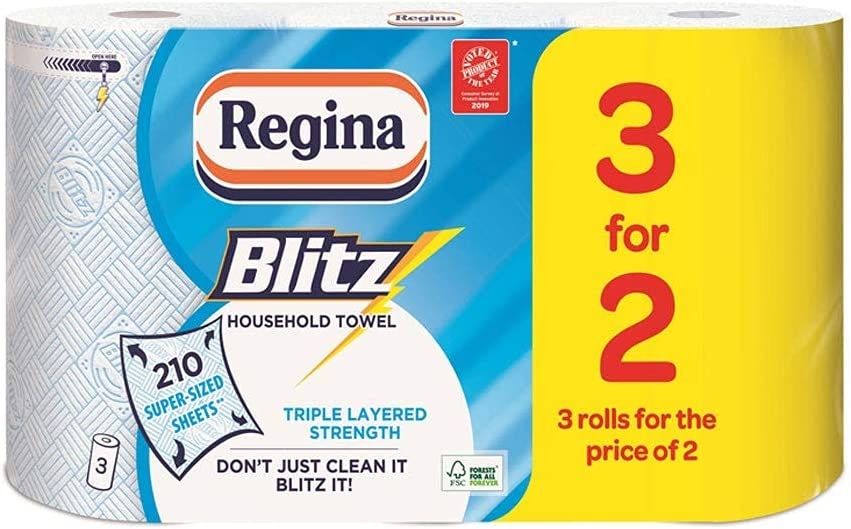 Discount Mail Order 12 Rolls Of Regina Blitz 3ply Kitchen Paper Roll Towel By