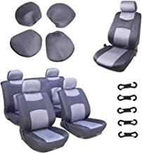 OCPTY Car Seat Cover, Stretchy Universal Seat Cushion w/Headrest 100% Breathable Automotive Accessories Durable Washable Mesh Cloth for Most Cars(Gray/Black)