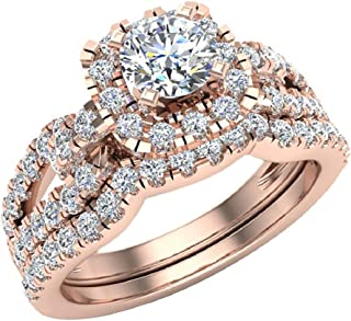 Wedding Ring Set for Women Accented Diamond Loop Shank 1.00-1.05 ctw Carat 14K Gold (J,I1)
