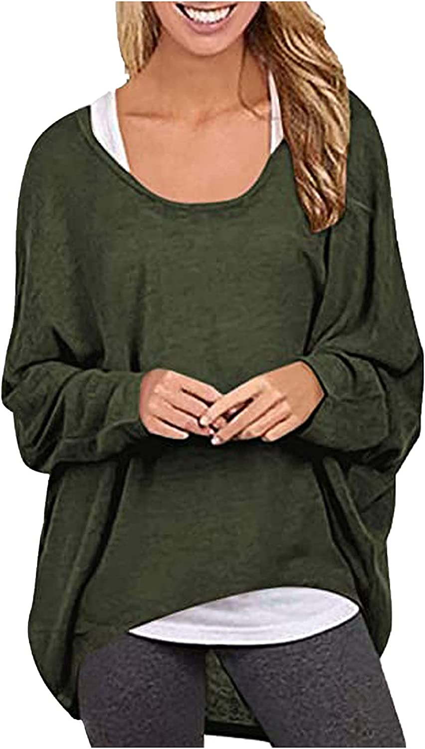 Womens Long Sleeve Tops Soild Baggy Off Shoulder Pullover T Shirt Oversized Casual Blouse Autumn Winter Comfy Shirts