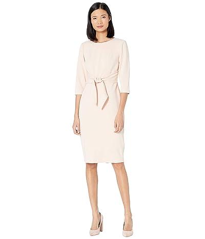 Adrianna Papell Knit Crepe Tie Waist Sheath Dress (Blush) Women