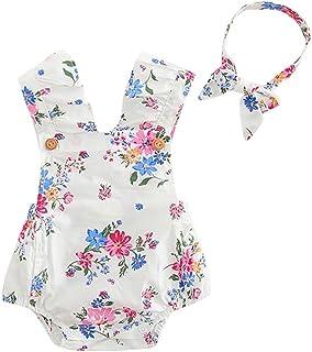 fa1e9a82b0bfc Bonjouree 2pc Barboteuse Bebe Fille et Bandeau à Fleurs Combinaison Sans  Manches Ensemble de vêtements ete