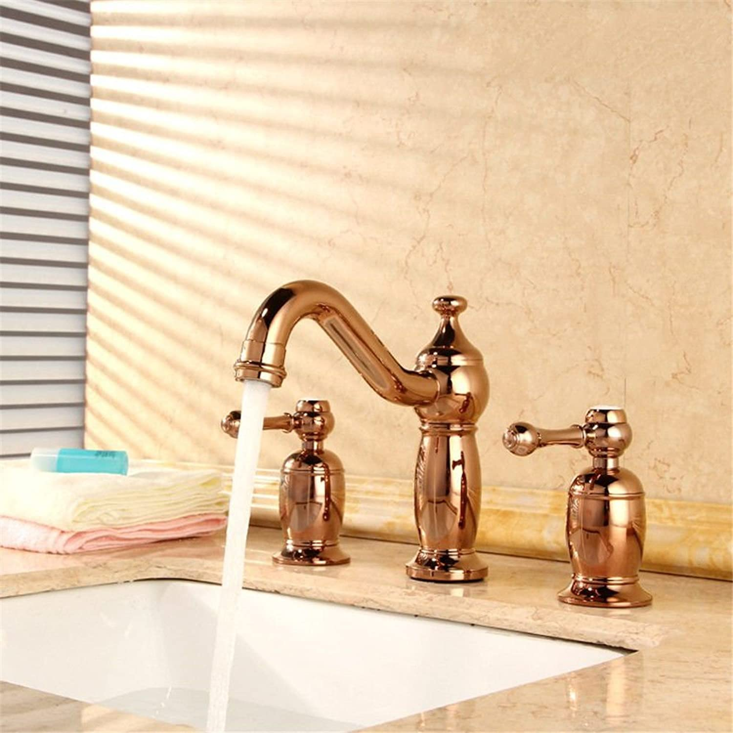 SADASD European High-End Copper Bathroom Basin Faucet Antique Single Unit Lift Open Wash Basin Sink Taps Single Hole Single Handle Ceramic Valve Hot And Cold Water Mixer Tap With G1 2 Hose