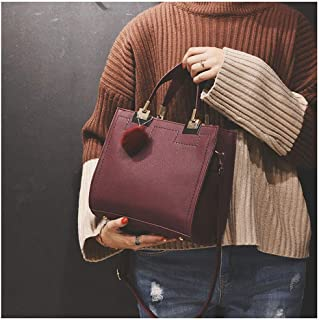 Well-made Hair Bag Frosted Sandbag Shoulder Bag Simple Small Square Bag Retro Shoulder Diagonal Girl Bag: 24 * 22 * ​​13cm No miscellaneous (Color : Red)