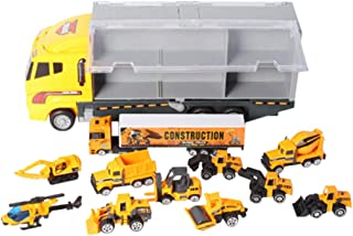 DDLmax 11 in 1 Die-cast Construction Truck Vehicle Car Toy Set Play Vehicles in Carrier Truck