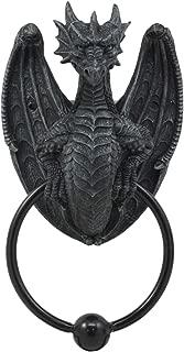 Ebros Faux Stone Fantasy Saurian Dragon Grasping Ring Door Knocker Sculpture Home Decor Figurine 8