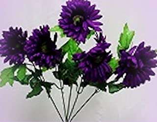 Inna-Wholesale Art Crafts New 5 Purple Gerbera Daisy Bridal Bouquet Silk Decorating Flowers Centerpiece - Perfect for Any Wedding, Special Occasion or Home Office D?cor